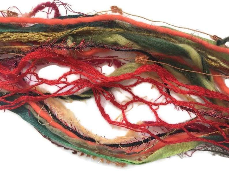 20 metres TUSCAN SUMMER Art Yarn Bundle Mixed Media Fiber Collage Textile Embellishment Eyelashes Yarn mixed novelty yarn pack