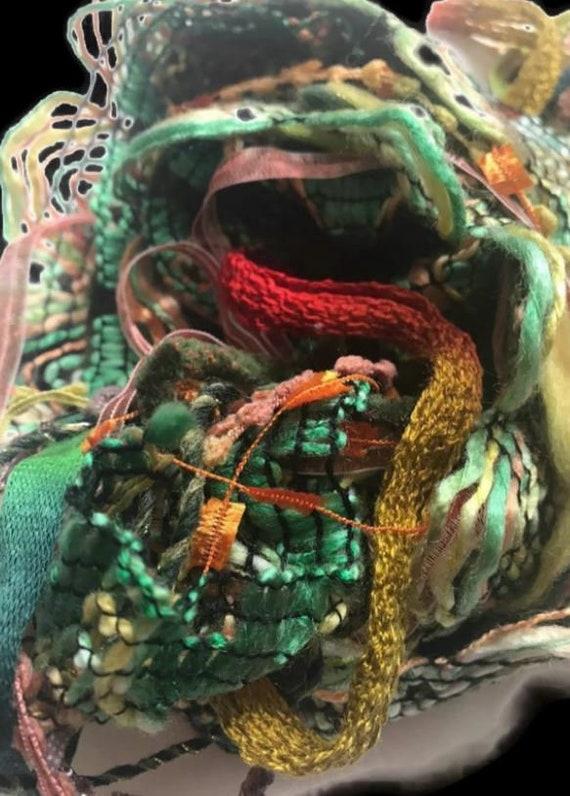 20 metres OCEAN SHELLS Art Yarn Bundle Mixed Media Fiber Collage Yarn Pack Textile Embellishment Eyelashes Yarn mixed novelty yarn pack