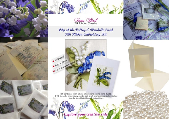 Lily Of The Valley And Bluebells Silk Ribbon Embroidery Kit Etsy