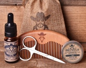 Honest Outlaw Beard Grooming kit - Choose a Scent - Beard Oil, Beard and Moustache wax, Beard Comb, Scissors, Mens Self Care, Mens Gift