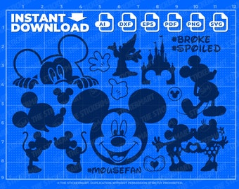 15 Mickey Mouse Bundle SVG Instant Digital Download for Cricut or Silhouette, Mickey Ears, Minnie Mouse, Castle