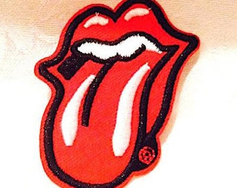 Embroidered Rock Band The Rolling Stones Mouth Emblem Logo Iron On Sew Applique Patch Glued