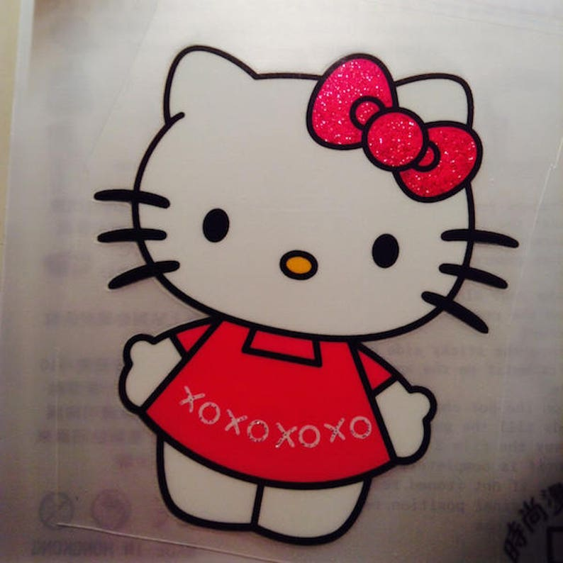 bbfee6f727 So Cute Hello Kitty in Red Dress XXOO Glitter Iron On