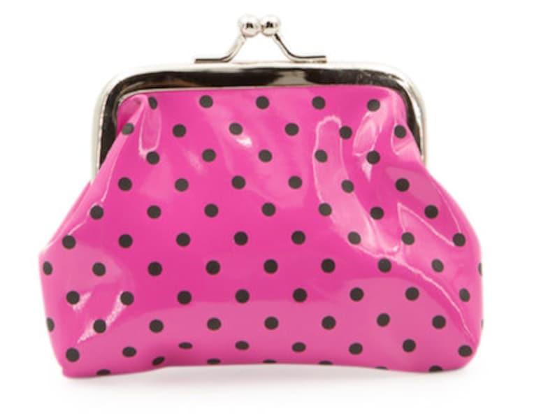 Fun Poka Dot Pink With Black dots Coin Purse Classic Clapse