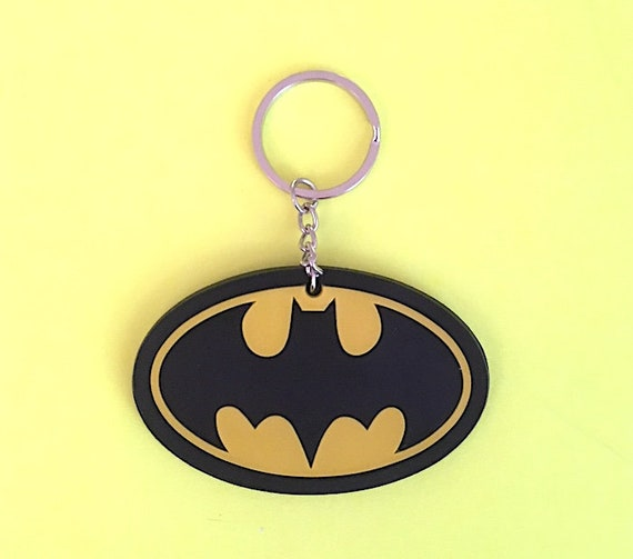 Logo Size: 1 x 2 Rubber Keychain // Keyring Batman