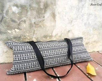Handmade Black Tribal Woven Cotton Yoga Mat Tote,Pilates Bag Yoga Mat Bag,Tote
