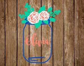 monogram mason jar decal // monogram floral decal // mason jar flowers decal // monogram flowers //  mason jar car decal // mason jar yeti