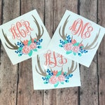 monogrammed deer antlers decal, monogram floral antlers decal, flowers antlers, deer flowers decal, floral deer decal, deer yeti decal.