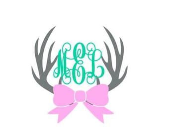 monogrammed deer antlers with bow // Deer antlers decal // Hunting decal // Girls Deer decal // Deer antlers  // monogram deer antlers //