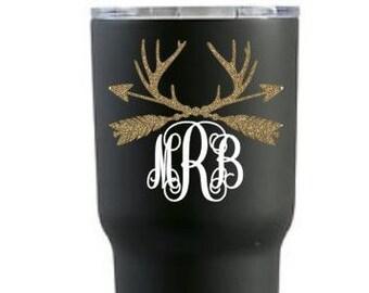 Personalized decal / Monogrammed decal / Arrow Decal / Arrow antlers decal  / Tumbler  Decal / Laptop Decal / Deer Decal / Deer Sticker