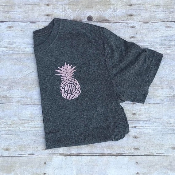 e60a18a5a6be Rose gold pineapple monogram shirt // monogram pineapple // | Etsy