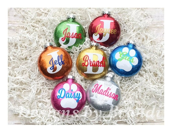 image 0 - Personalized Glitter Ornaments // Personalized Christmas Etsy