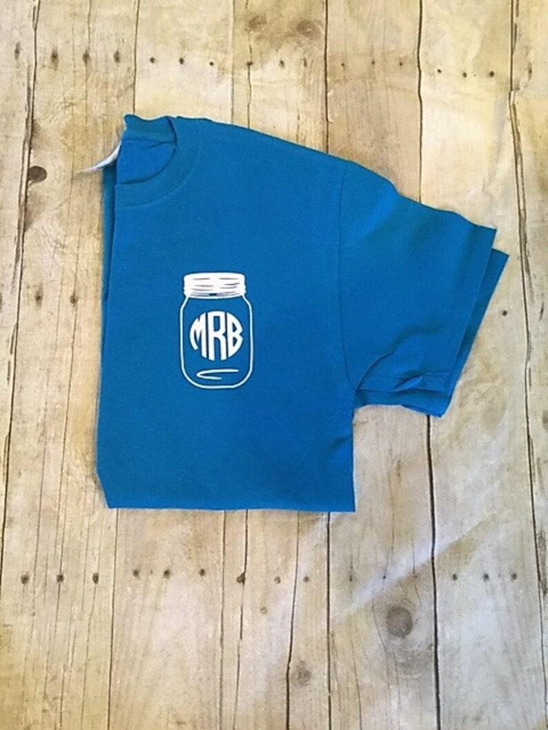 Pocket Size Monogram Mason Jar T Shirt Mason Jar Monogram Etsy