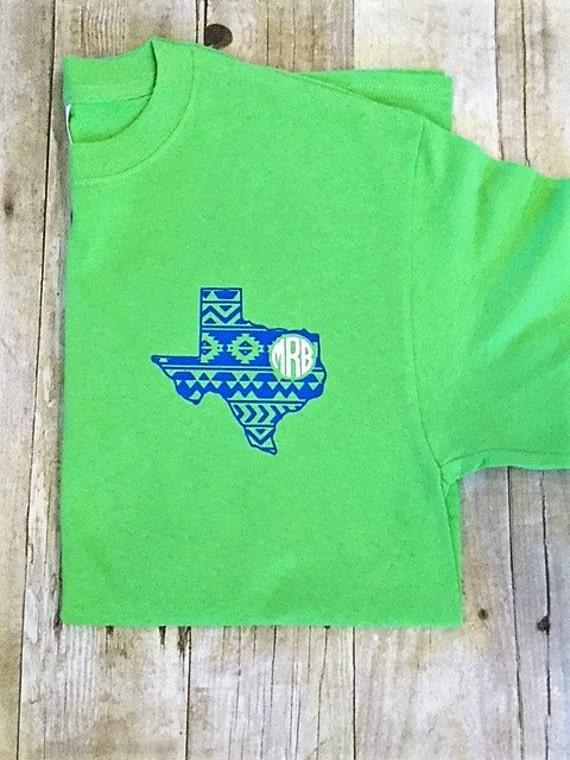 Pocket Size Monogram Texas T Shirt Texas Monogram Shirt Etsy