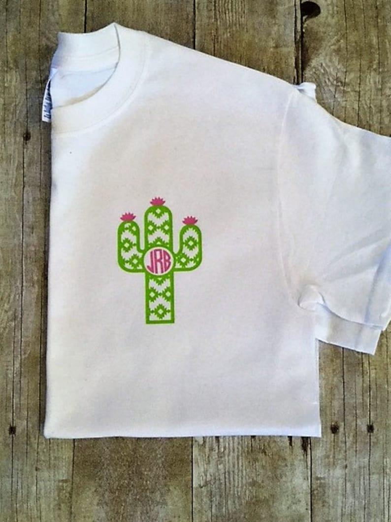 Pocket Size Monogram Cactus T Shirt Cactus Monogram Shirt Etsy