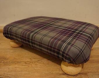 Purple Tartan Footstool