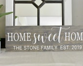 Home Sweet Home, Established Date Sign, Personalized Sign, New Home Sign, Realtor Gift