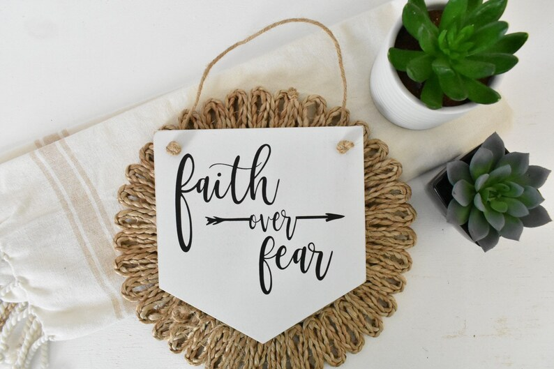 Office Decor Inspiational Wall Art Quotes Hanging Sign Faith Over Fear Wood Tags Mini Hanging Wood Sign