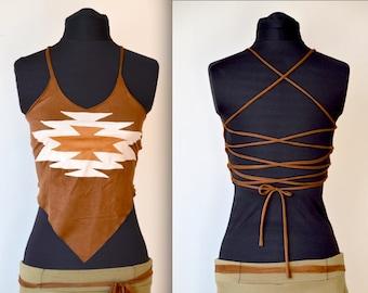 854228469a Aztec tribal pixie crop top ethnic suede vegan hippie clothes backless  psytrance clothing Burning Man festival elven clothes