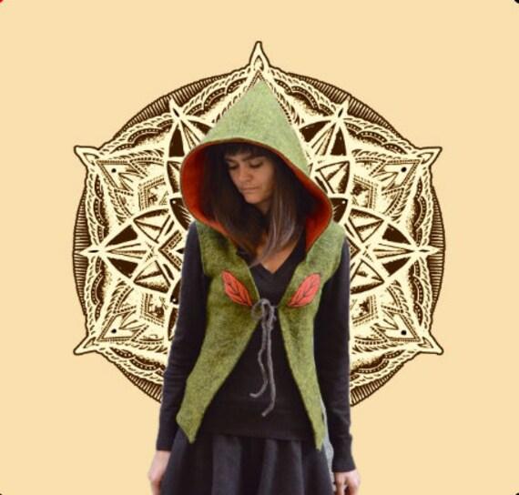 Green Summer Backless Fairy Jacket Wool Vest Pixie Vest Wool Backless Jacket,