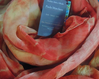 Natural silk scarf, painted with dry-cleaning herbs
