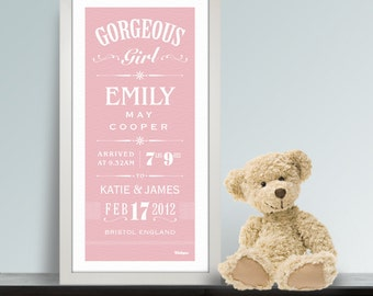 Baby Girl New Arrival Personalised Print.