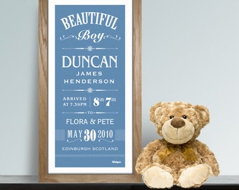 Baby Boy New Arrival Personalised Print