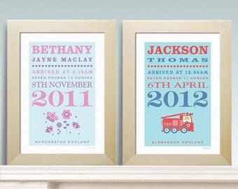 New Baby Birth Personalised Print