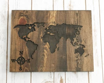 Wood World Map Etsy