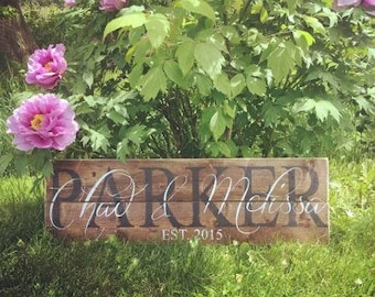 Family First&Last Name Sign Rustic Decor