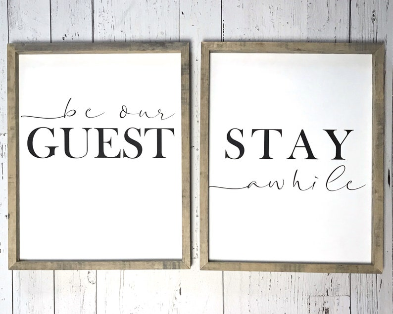"""18"""" Rustic Wood Sign STAY AWHILE Farmhouse Home Decor Be Our Guest Fixer Upper"""