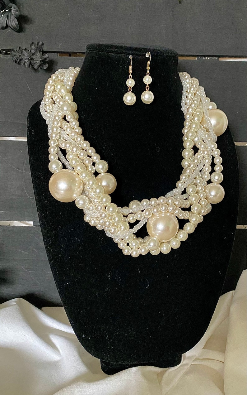 Pearl Necklace Black Pearl necklace for her wedding pearl collection pearl nuggets pearl jewelry gift for her