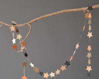 "Garland of stars ""Bambi"", paper, textured paper with polka dots, glitter paper, patterned cotton paper"