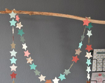 "Decorative stars ""Jeanne"", paper Garland, paper textured polka dots, glitter paper, patterned paper, black cotton thread"