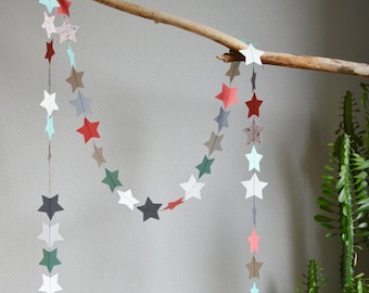 "Decorative stars ""Jade"", paper Garland, paper textured polka dots, glitter paper, patterned paper, black cotton thread"