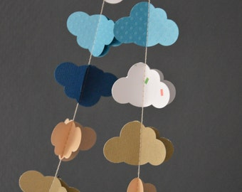 "Garland of clouds ""High tide"", paper, textured paper with polka dots, glitter paper, patterned cotton paper"