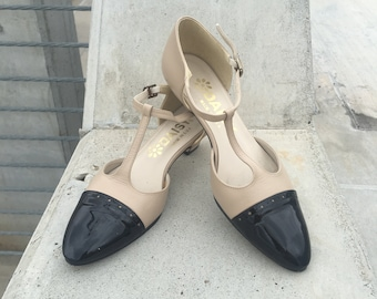 57cf6bc4814f Vtg T-STRAP Kitten Heels TWO TONE Cream and Black Patent Leather Wingtip  Shoes Buckle Ankle Strap Pumps Late 1970s Feminine Dainty Size 5.5A