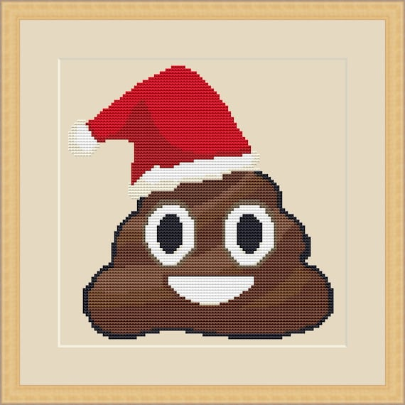 christmas poop emoji counted cross stitch pdf pattern instant etsy - Christmas Poop