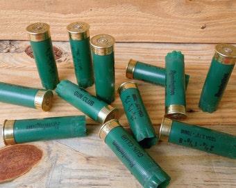 Shotgun shells Remington GREEN 12 gauge once/fired empty shotgun shells with brass casing (10 size lot)