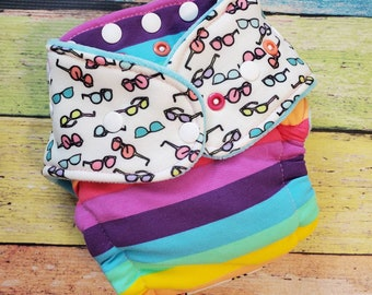 Sunnies and Stripes Hybrid Fitted Cloth Diapers One Size Organic Zorb Fold Down Rise