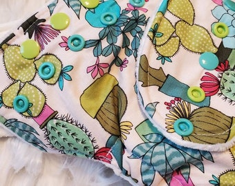 Succulent Plant Cactus Hybrid Fitted Cloth Diaper Organic Zorb Bamboo One Size Fold Down Rise Ready To Ship