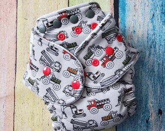 Trucks - Hybrid Fitted Cloth Diaper One Size Fold Down Rise Organic Zorb