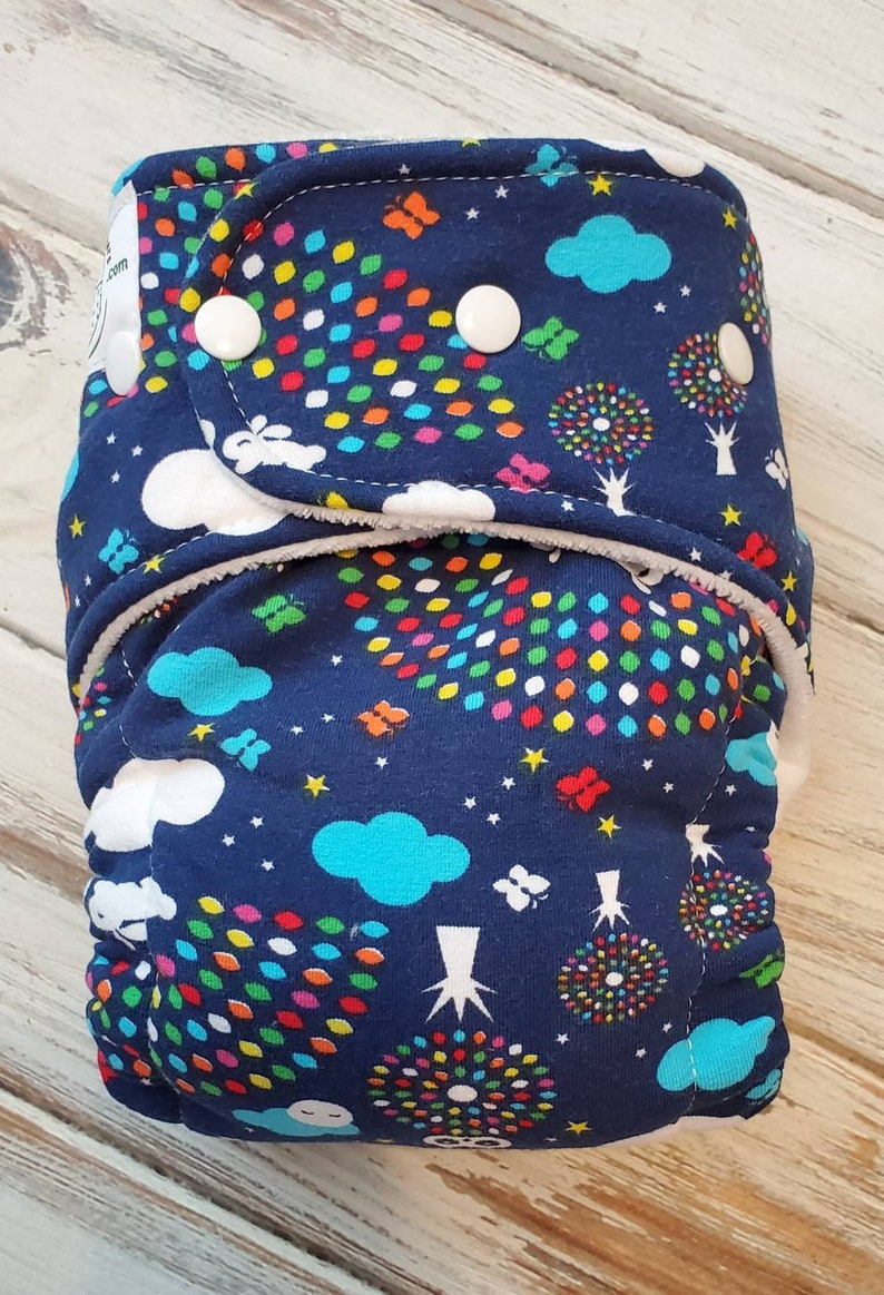 Rainbow Bunny Cloud Butterfly Hybrid Fitted Cloth Diaper image 0
