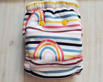 Rainbow Stripe Hybrid Fitted Cloth Diaper One Size Organic Zorb Fold Down Rise Ready to Ship