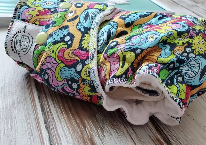 Hybrid Fitted Cloth Diaper Organic Zorb Bamboo Trim Monsters image 0