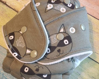 Raccoon Fall Olive Hybrid Fitted Cloth Diaper Fold Down Rise One Size Zorb Organic Ready to Ship