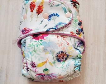 Watercolor Floral Hybrid Fitted Cloth Diaper Fold Down Rise One Size Organic Zorb Hemp