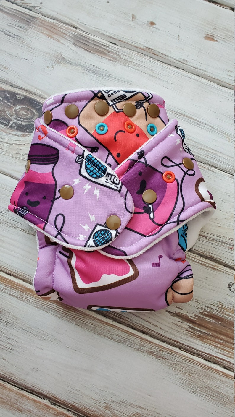 Hybrid Fitted Cloth Diaper We Be Jammin PB&J Organic Bamboo image 0