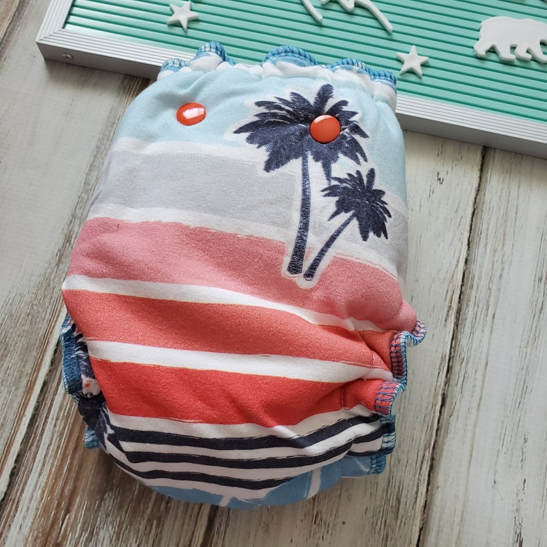 Palm Tree Summer Stripe Hybrid Fitted Cloth Diaper Squishy image 0