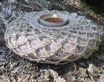 Candleholder - Nature, Organic Item, Completely Natural, Handwork Stone, Linen Chrochet, Garden Candle, Lightly Matte, Granite Lamp, Gift